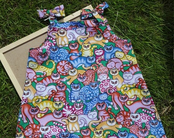 Handmade cat fabric girls dress