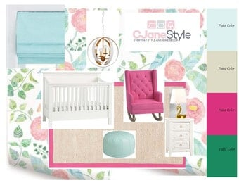 Girl Nursery, Styleboard with Product List and Paint Colors