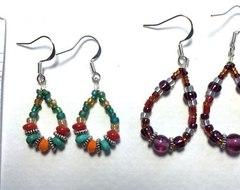 Beaded drop earrings- 2 pairs