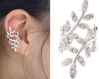 Crystal Leaf Ear Cuff