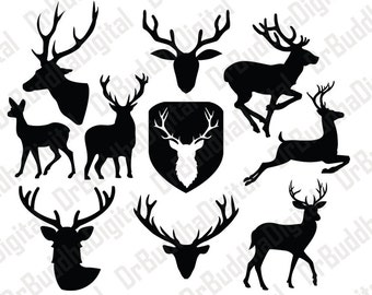 Deer SVG Collection - Deer DXF - Deer Clipart - Svg Files for Silhouette Cameo or Cricut