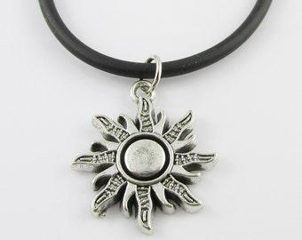 Solstice Sun Charm Pendant  Necklace Black Cord