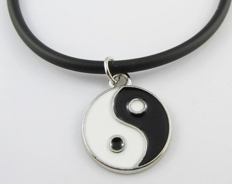 Yin Yang Charm Pendant  Necklace Enamel with Black Cord