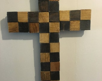 Solid wood Multi-stained colored Cross