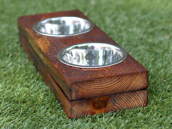 reclaimed wood dog bowl stand two bowls. Black Bedroom Furniture Sets. Home Design Ideas