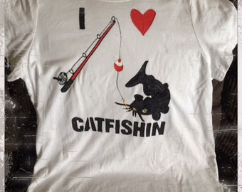 Catfishin T-shirt Hand Painted