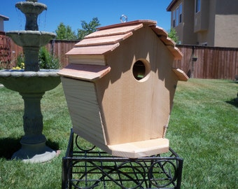 Handcrafted cedar birdhouse  #108 FREE SHIPPING