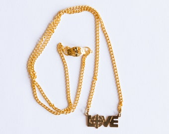 Gold Vintage 80's LOVE necklace with Cross