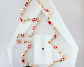 "Evil eyes gold filled necklace. Long 18"" Price 29.99"