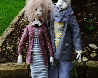 "2 OAK paperclay art dolls ""Rabbitins on a Summer walk"""