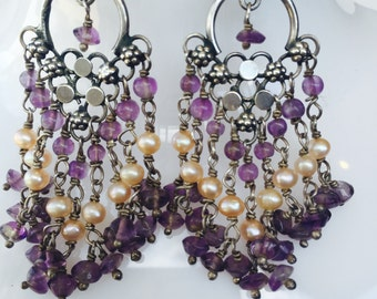 Stunning Sterling Silver Drop Amethyst and Pearl  Vintage Earrings