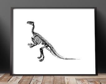 Dinosaur Fossil Print Set Dinosaur Art Dinosaur Print Dinosaur Bones Art Fossil Art Minimalist Art Office Decor Boys Room Decor Science Gift