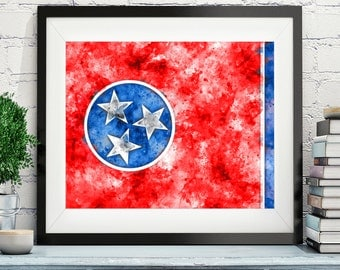 Tennessee Flag Art, Tennessee Flag Print, Flag Poster, TN State Flag, Watercolor Painting, Watercolor Flag, Housewarming Gift, Tennessee Art
