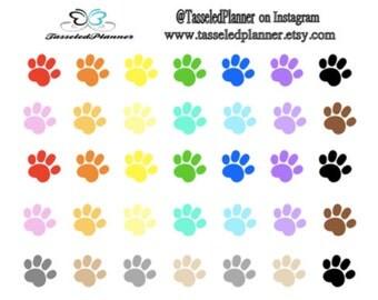 Mini Paw Print Planner Sticker/Paw Print Planner Sticker/Pet Care Planner Sticker/Multicolored Paw Print Planner Sticker