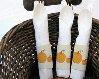 Pumpkin / Little Pumpkin / Fall / Autumn Theme - Printable Napkin Rings / Holders-Gender Neutral-DIY-Party Decorations-Digital Download