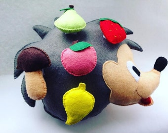 Developing Toy for Children a Hedgehog with Geometric Figures and Fruit Sensory Felt Toy Felt Hedgehog Learning Game Baby Learning Toy
