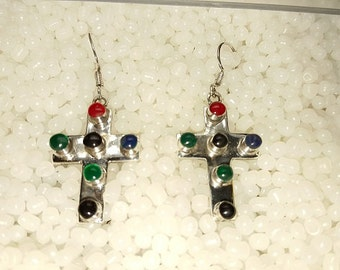 Sterling Silver Cross Earring – 6 Glass Stones