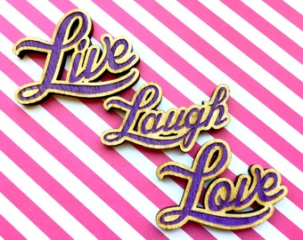 Purple Live Laugh Love refrigerator magnets