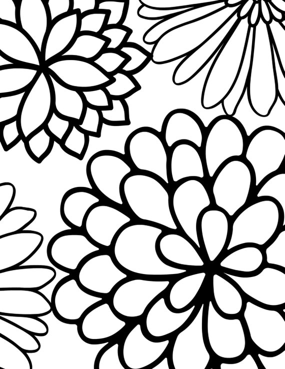 Large Printable Coloring Pages Of Flowers