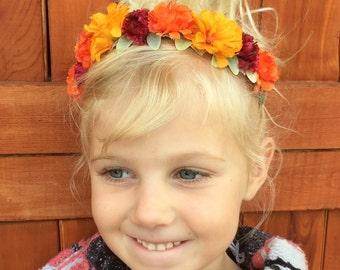 Marigold Headband, Baby Flower Headband, Flower Headband, Floral Headband,  Flower Girl Headband, Boho Headband, Bohemian Headband