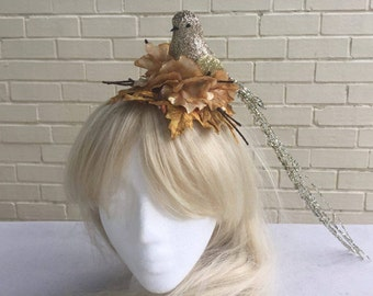 Kitsch Pin Up Gold Glitter Bird Flower Fascinator Headband