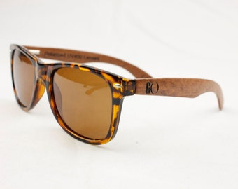 Tortoise Shell Sunglasses with Wooden Arms