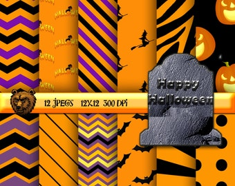 Halloween digital paper, background, scrapbooking, instant download