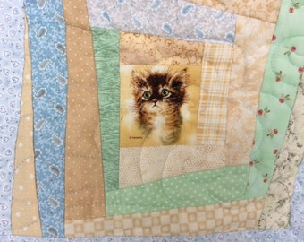Cat Quilt.Wonky Log Cabin Quilt.Crazy Patchwork Quilt.Throw Home Decor.Animal Quilt.Blue Cat Quilt. Kittens.Girl, Boy or Girl Quilt.