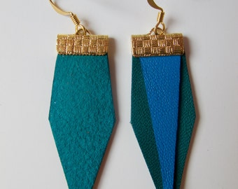 Leather green and blue earrings