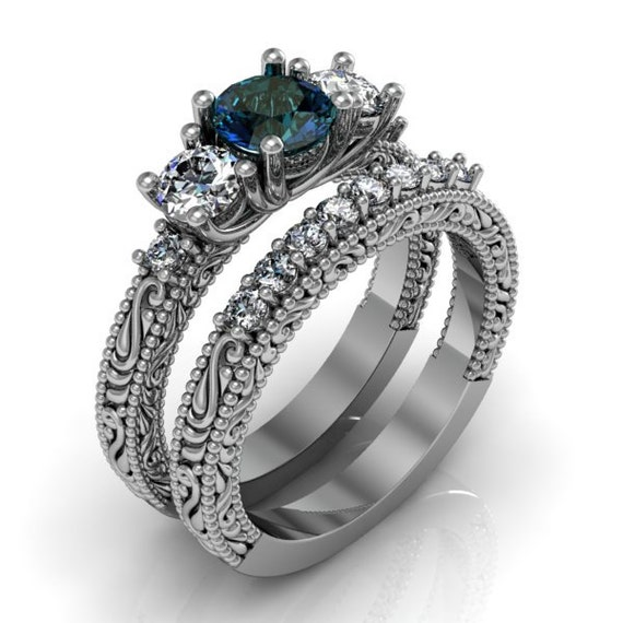Art Deco Mystic Topaz Silver Ring Set Engagement By