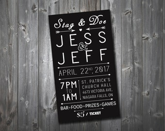 Elegant Black Stag & Doe Ticket, Personalised Digital File