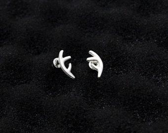 Silver Deer Antler Stud Earrings