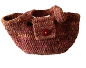 Crochet Handbag made with Handspun Texel Yarn Hand dyed with Maroon variegated colours chunky handbag stylish large red button