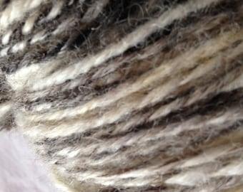Handspun yarn, British Jacobs Wool Chain/Navajo ply Art Yarn, natural undyed, whites, brown, grey, black, 160yards