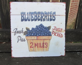 Vintage Style Blueberry Sign