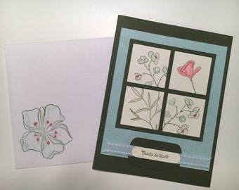 One handmade thank-you card with matching envelope