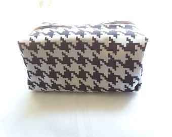 B&W zippered pouch, Cosmetic Bag, Toiletry Bag