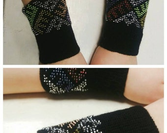 Amazing hand knitted Lithuanian beaded wrist warmers