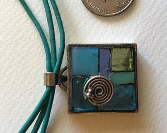 Glass Mosaic Necklace in Blue Tones