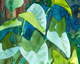Original watercolor,size 9x12 inches,alocasia,garden, flowers,plants
