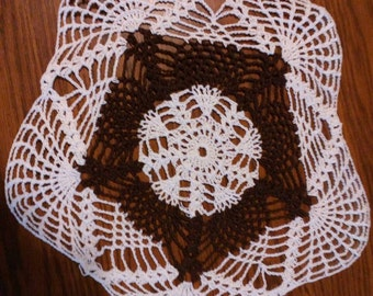 "12"" Black and white doily"
