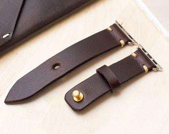 VIN. N-bracelet minimaliste pour Apple Watch - végétal en cuir beige