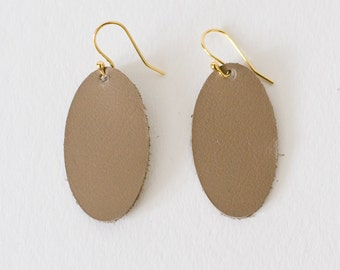 Leather Earrings, Oval, Warm Taupe, Putty, Statement Earrings