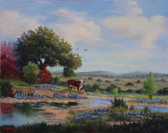 Hereford Cow and Bluebonnet Field Oil Painting