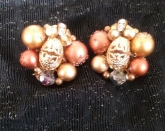 Bronze Popcorn Earrings - Clip on