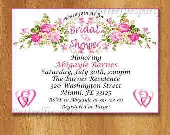 Bridal Shower Invitation, PERSONALIZED, Digital File