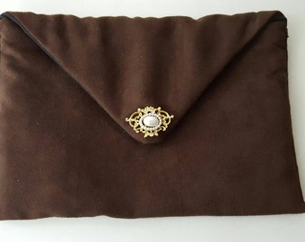Faux Suede Clutch, Brown Envelope Clutch, Envelope Clutch, Evening Bag, Brown Clutch, Faux Suede Bag, Vintage Pin Clutch, Faux Suede Purse