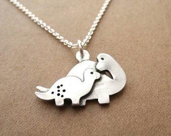 Dinosaur mom and small pendant free shipping