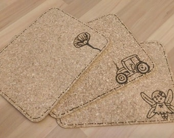 Personalised cork placemats