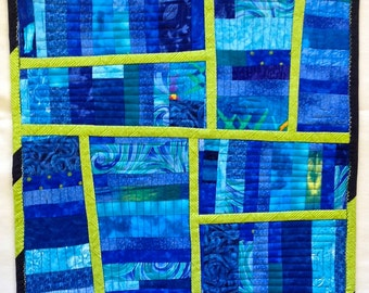 Art Quilt in Blue ,Abstract Art Quilt in Green, Quilted Wall Hanging, Table Topper, Modern Wall Art in Blue and Green